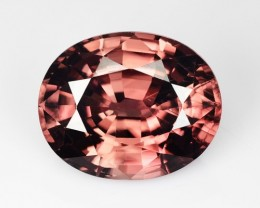 4.92 Cts Natural Zircon Sparkling Brownish Pink Oval Tanzania
