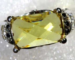 6.2CTS CITRINE AND QUARTZ SILVER RING SG-2560
