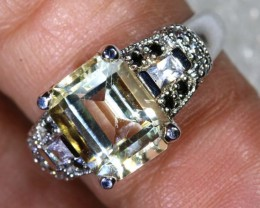 22.5CTS CITRINE AND QUARTZ SILVER RING SG-2561