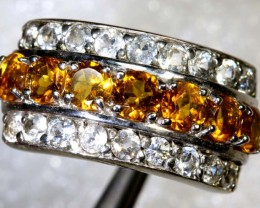 35CTS CITRINE AND QUARTZ SILVER RING SG-2562