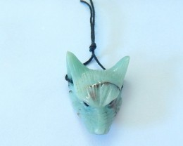 23.5ct Natural Chrysocolla Handcarved Wolf Head Necklace Pendant(17101203)