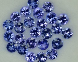 2.00 Cts Natural Violet Blue Tanzanite 2.50 mm Round 25 Pcs Parcel