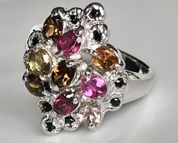 Stunning Spinel Tourmaline .925 Sterling Silver Ring No Reserve