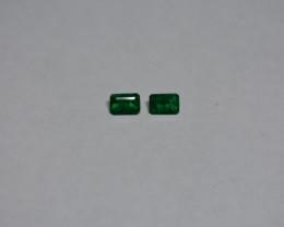 0.98 carat  Strong green Emerald pair