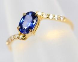 Lot 08 ~ 18Kt Yellow Gold Natural Blue Sapphire Ring Sz4.75