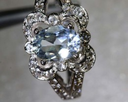 21.6CTS AQUAMARINE AND QUARTZ SILVER RING SG-2563