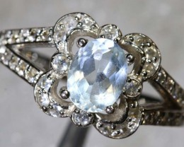 20CTS AQUAMARINE AND QUARTZ SILVER RING SG-2564