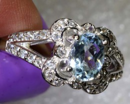 21CTS AQUAMARINE AND QUARTZ SILVER RING SG-2566