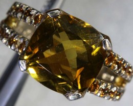 30.2CTS CITRINE SILVER GOLD PLATED RING SG-2570