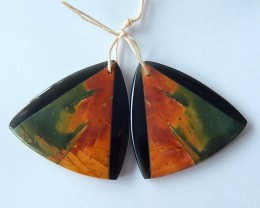 51.5ct Natural Obsidian And Multi-Color Picasso jasper,Intarsia Earring Bea