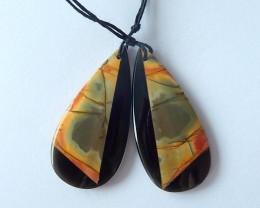 36.5ct Natural Obsidian And Multi-Color Picasso jasper,Intarsia Earring Bea