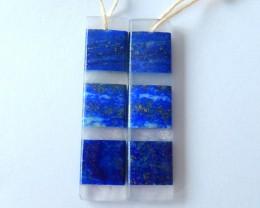 29.5ct Natural Rose Quartz And Lapis Lazuli Intarsia Earring Beads(17101306