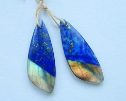 24ct Sell Natural Lapis Lazuli and Labradorite Intarsia Earrings,Gemstone J