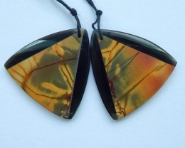 45ct Sell Natural Obsidian and Multi-Color Picasso Jasper Intarsia Earrings