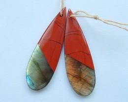 32.5ct Hot Style,Natural Red River Jasper,Labradorite Intarsia Earring Bead