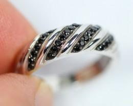 4.61gram Natural Black Spinel 925 Silver Ring Sz5.5