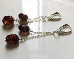 Glitteirng Cognac Amber Gem Earrings Sterling Silver No reserve