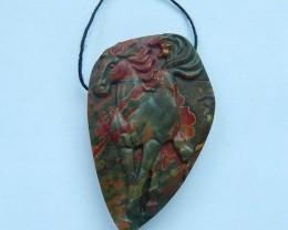 94ct Natural Multi-Color Picasso jasper Handcarved Horse Necklace Pendant(1