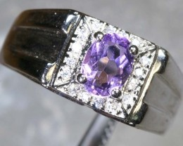 26.6CTS AMETHYST AND QUARTZ SILVER RING SG-2571