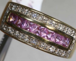 38.6CTS PINK SAPPHIRE AND QUARTZ SILVER GOLD PLATED RING SG-2573