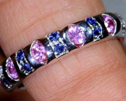 17.2CTS SAPPHIRE AND TANZANITE SILVER RING SG-2577