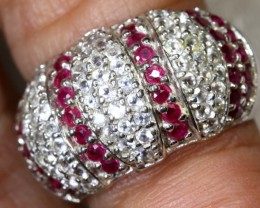 31.6CTS RUBY AND QUARTZ SILVER RING SG-2584