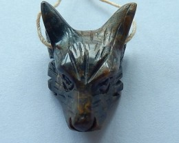 30ct Natural Agate Carving Wolf Head Pendant(17101608)