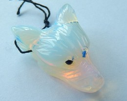 63.5ct Natural Opalite Carving Wolf Head Pendant(17101609)