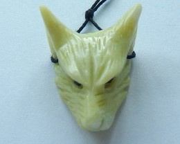 32.5ct Natural Serpentine Carving Wolf Head Necklace Pendant(17101610)