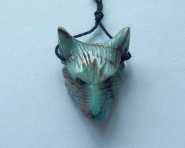 22ct Natural Chrysocolla Handcarved Wolf Head Necklace Pendant(17101611)