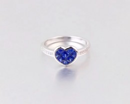 Mystery Setting 18K White Gold Sapphires Ring Set with Diamonds