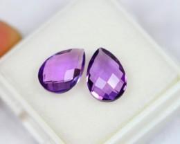 3.63Ct Natural Purple Color Amethyst Checker Cut Pair