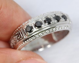 22.44Ct Natural Black Diamond 925 Silver Ring Sz9
