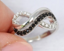 16.54Ct Natural Black Spinel 925 Silver Ring Sz5.25