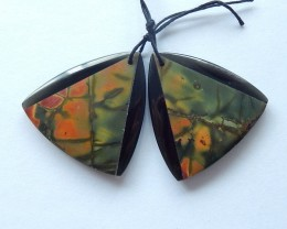 Free Shipping!!! 55ct Natural Obsidian and Multi-Color Picasso jasper Intar