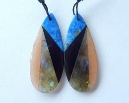31.5ct Natural Lapis Lazuli,Obsidian,Labradorite,Sun Stone Intarsia Earring