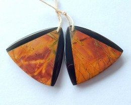 54.5ct Natural Obsidian and Multi-Color Picasso Jasper Intarsia Earring Bea