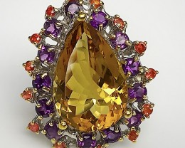 The Empress - Citrine Amethyst Sapphire Sterling Silver Ring Size 8.5