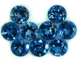 5.73 Cts Natural Blue Topaz 5 mm Round 9 Pcs Parcel
