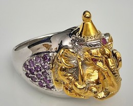 Elephant with Party hat Amethyst .925 Sterling Silver Ring No Reserve