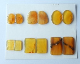 Free Shipping !!!85ct Sell 6 Pairs Natural Yellow Opal Cabochon Pair(171018