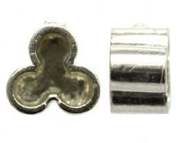 Clover Style Finding for Round Stones Sterling Silver Uncleaned(925)