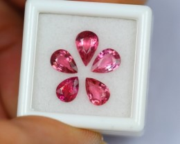 3.48Ct Natural Pink Tourmaline Pear Flower Jewelry Lot S1356