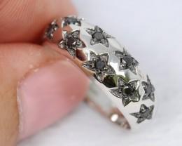 20.58Ct Natural Black Diamond 925 Silver Ring Sz7