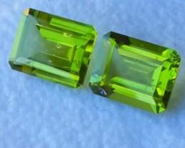 4.80 Cts.Magnificient Top cut Sparkling Intense Green Peridot 2 pcs