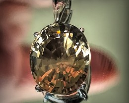 Golden Caramel Smoky Quartz Sterling Pendant No Reserve