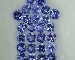 2.10 Cts Natural Violet Blue Tanzanite 2.50 mm Round 26 Pcs Parcel