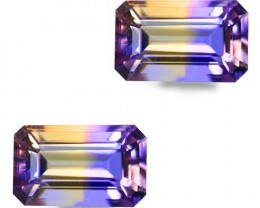 3.45 Ct Natural Rarest Bi Color Octagon Shape Ametrine Pair