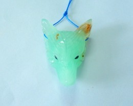 48.5ct Natural Chrysoprase Handcarved Wolf Head Necklace Pendant(17102009)