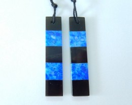 21.5ct Natural Obsidian,Lapis Lazuli Intarsia Earring Beads(17102104)